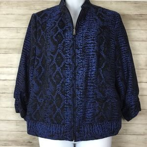 Erin London Zip Front Blue Black Snake Blazer